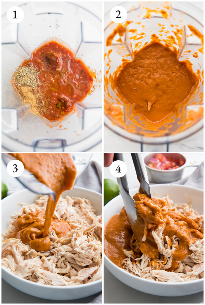 step by step collage of how to make chicken tostadas