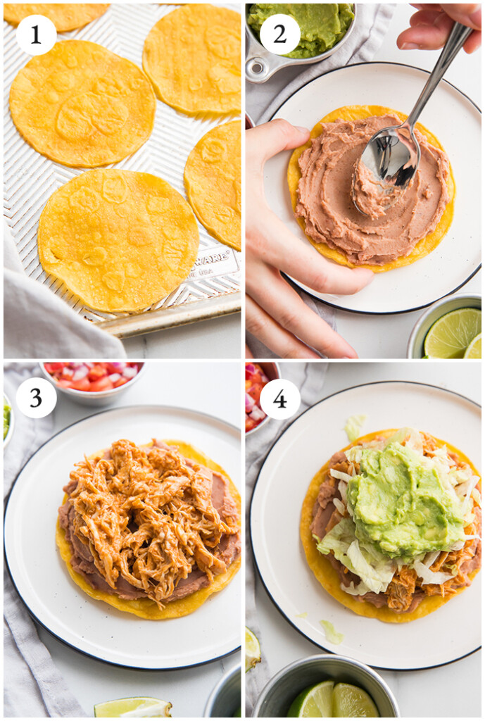 Collage of how to build the tostadas