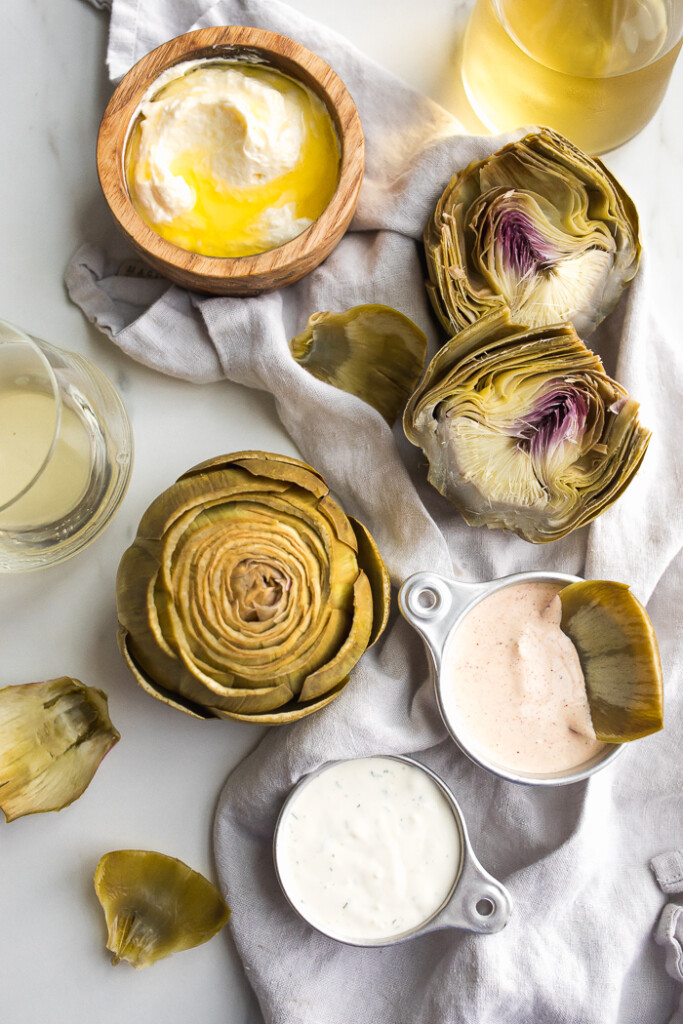 Boiled artichoke petals dipped into sauces