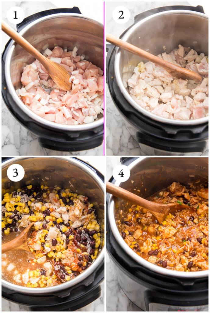 Process shots of how to make burrito bowls in an instant pot