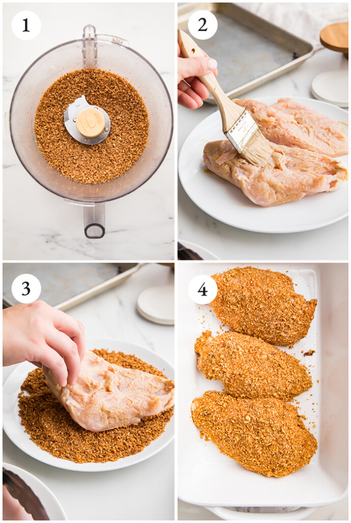 Process shots of breading the chicken