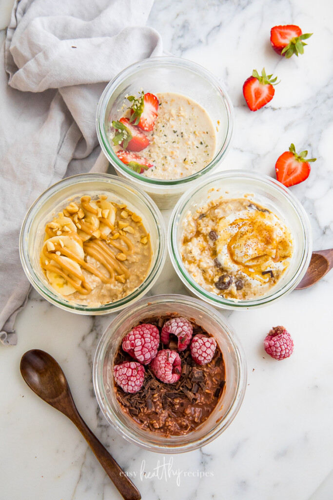 vegan overnight oats with different toppings