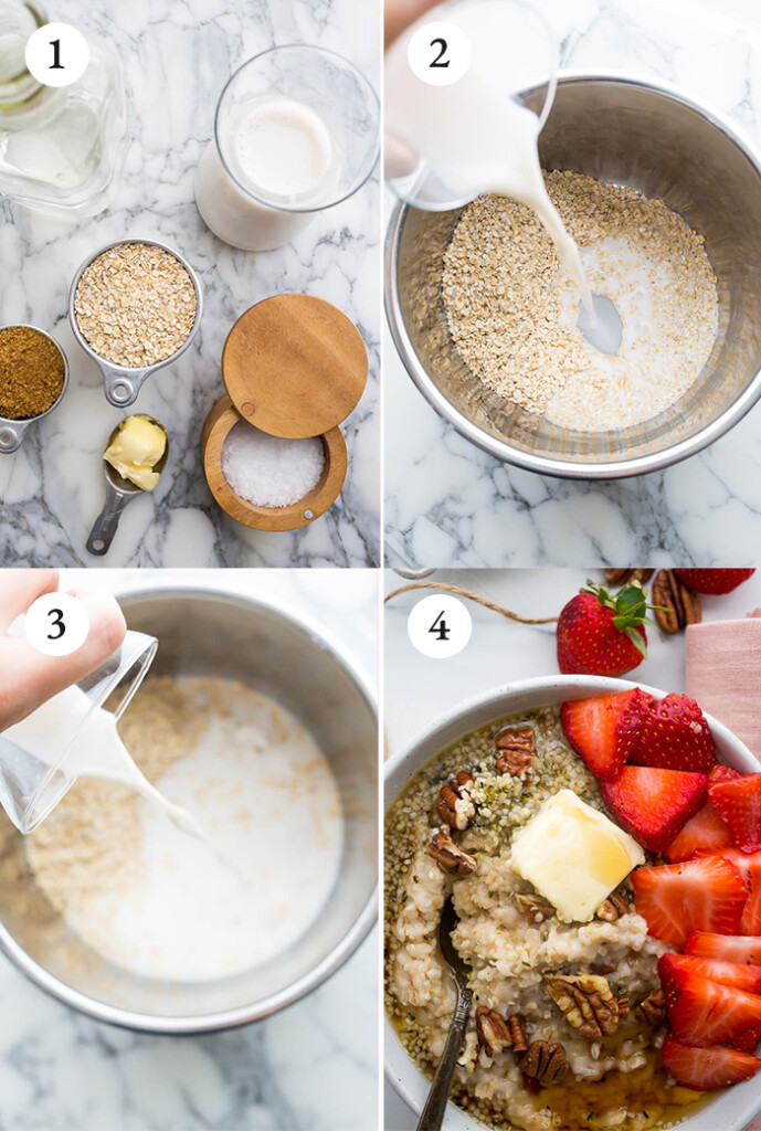Step by step tutorial on oats in instant pot topped with strawberries, butter, maple syrup, hemp seeds, pecans, and brown sugar.