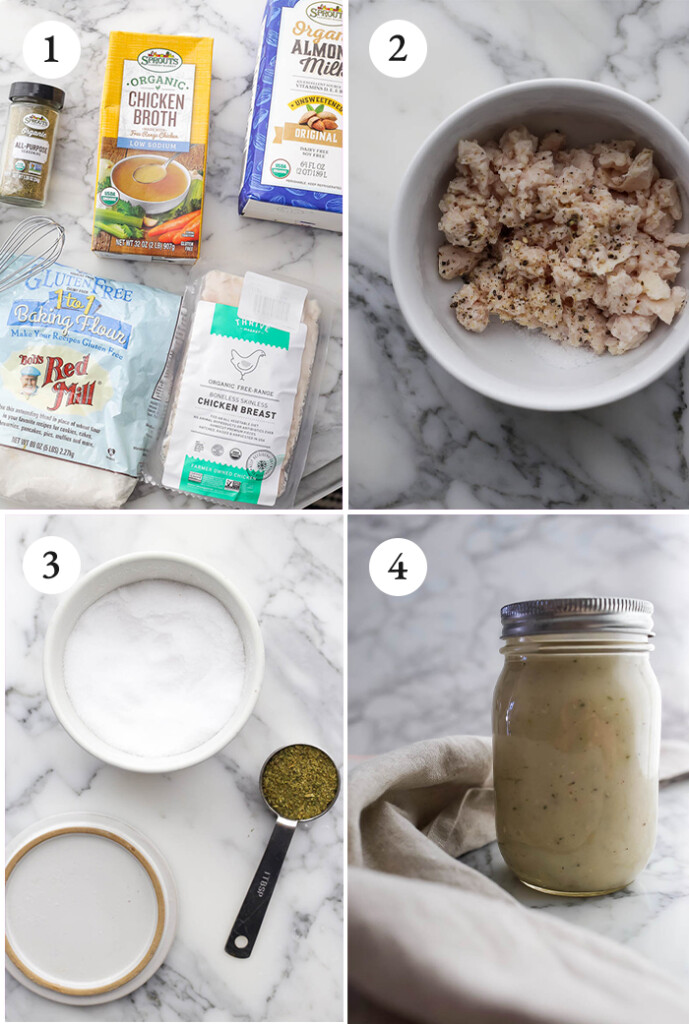 Pinterest image of step by step photos of gluten-free cream of chicken soup.