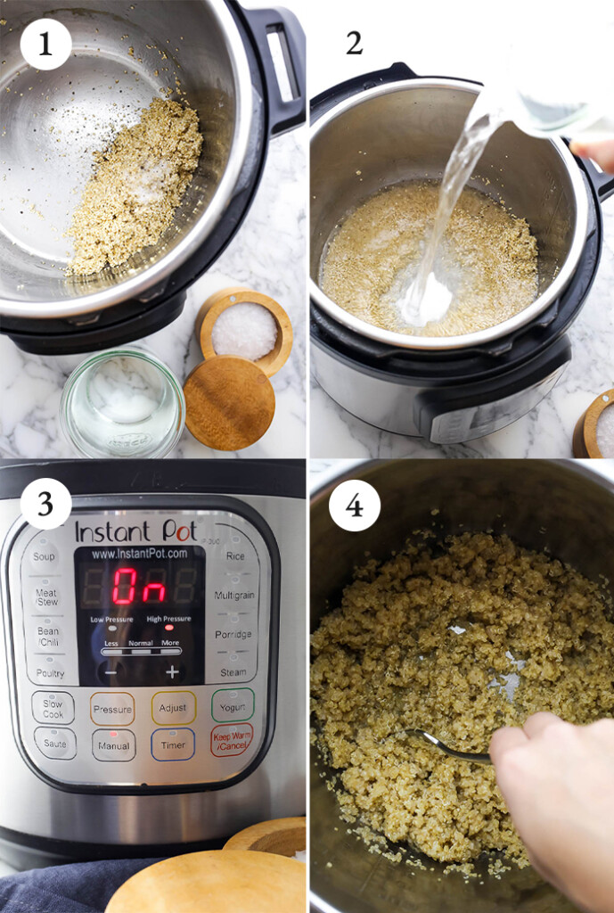 Step by step photos of Instant Pot quinoa.