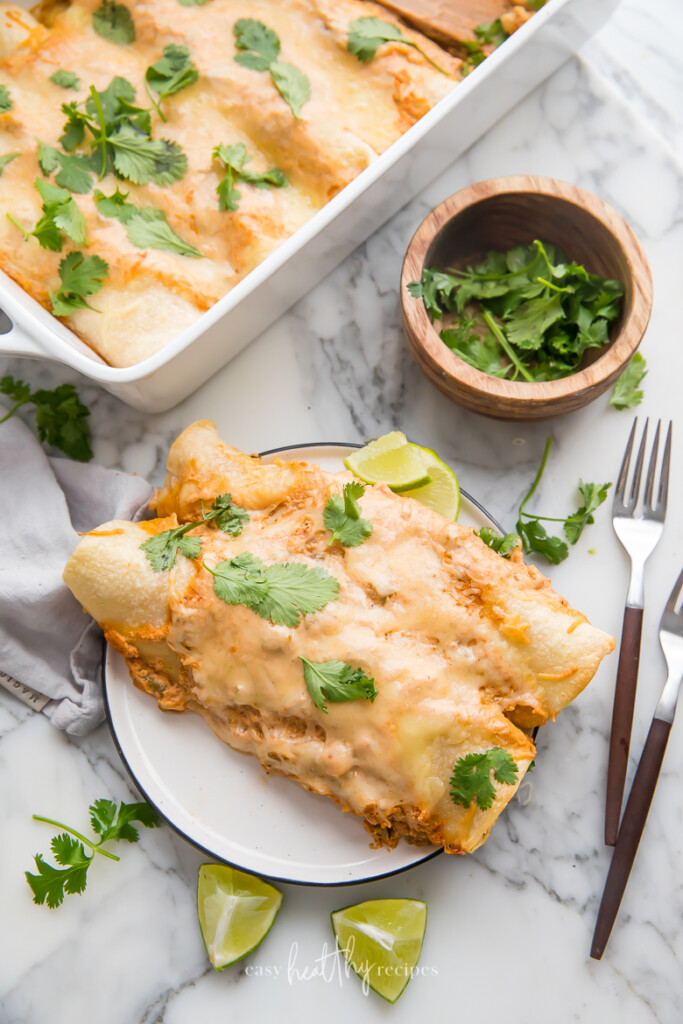Two creamy chicken enchiladas on a plate with cilantro on top