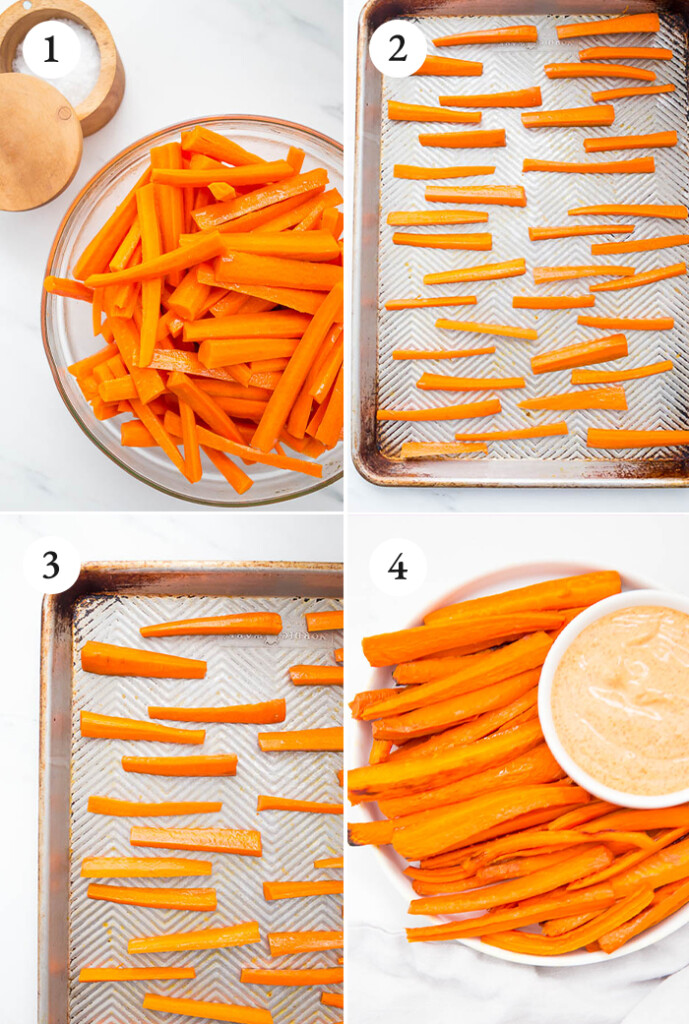 Step by step tutorial on how to make carrot fries made in the oven.