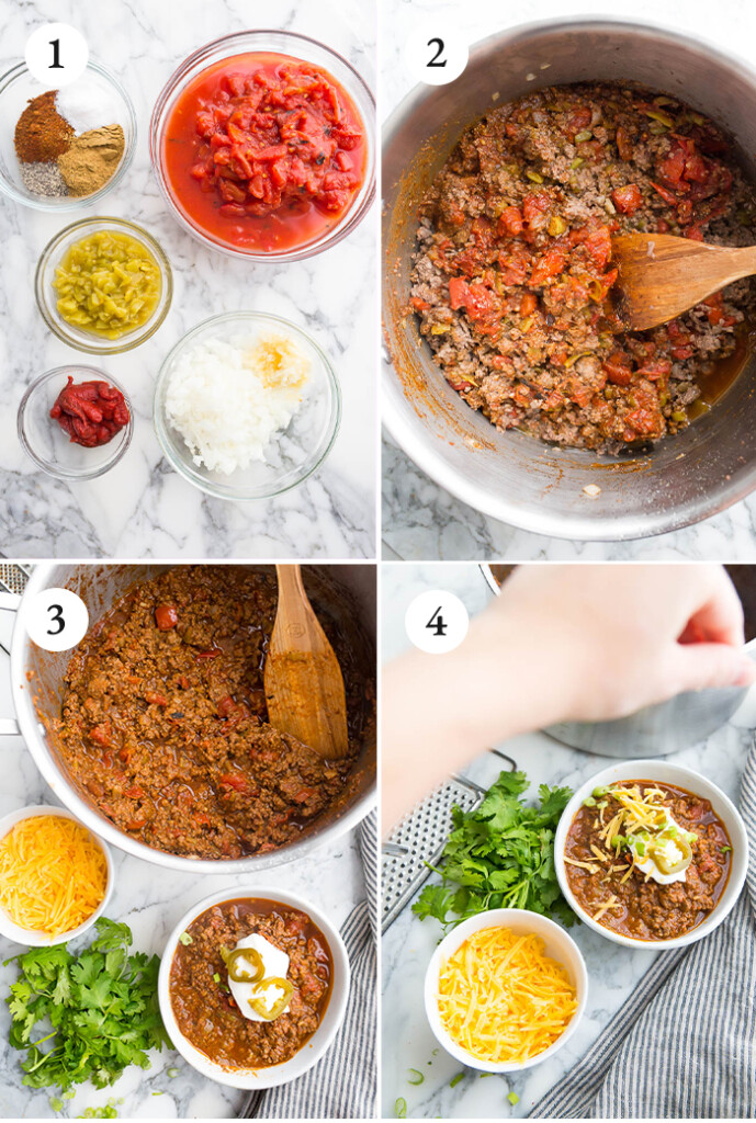 Step by step photos of low carb chili.