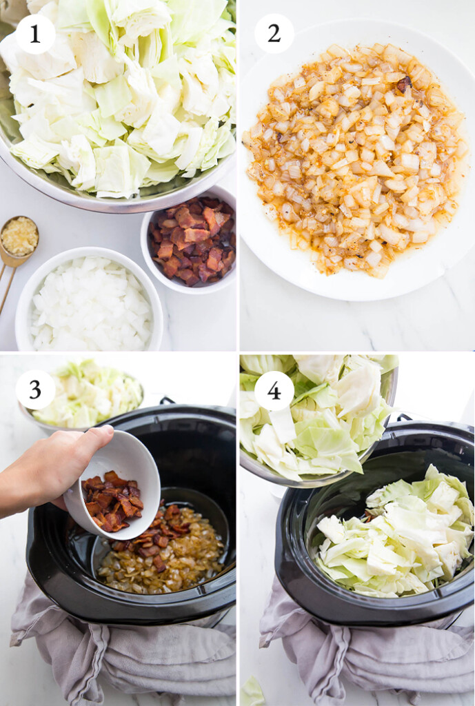Step by step photos to make crockpot cabbage