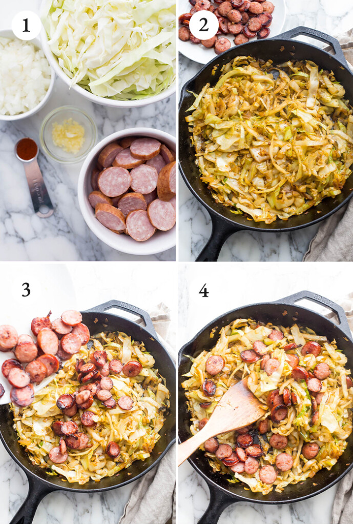 step by step instructions of kielbasa and cabbage in cast iron skillet.