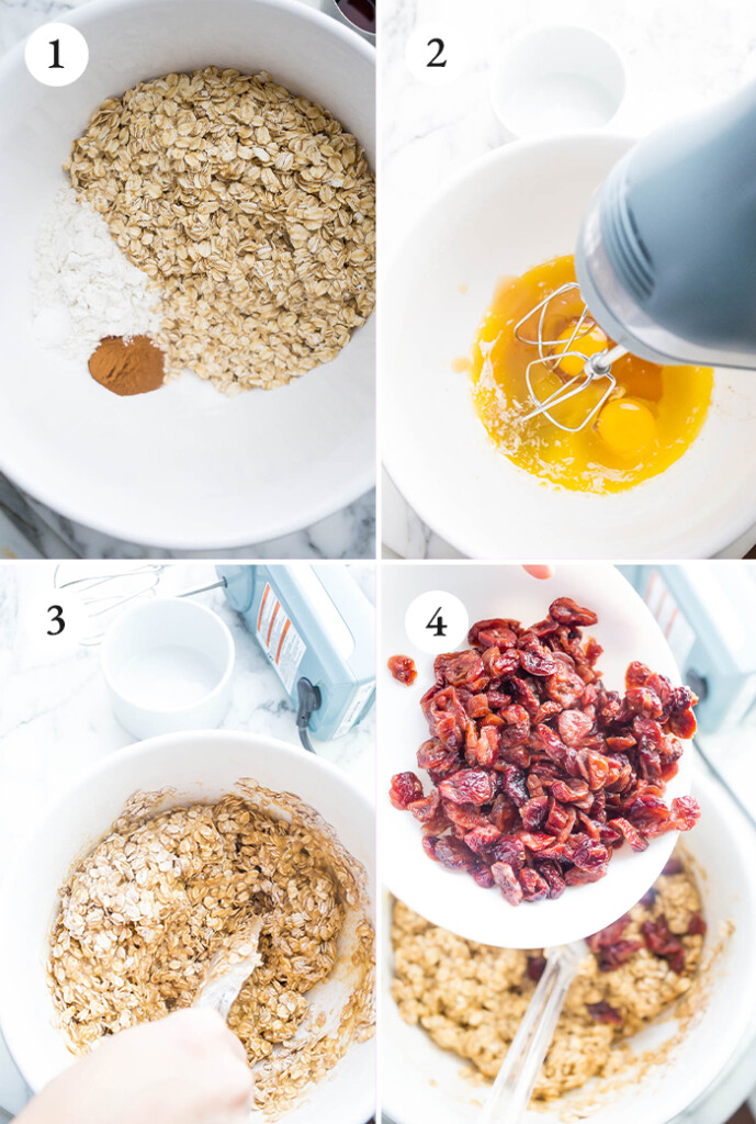 Step by step photos of Oatmeal Cranberry Cookies.