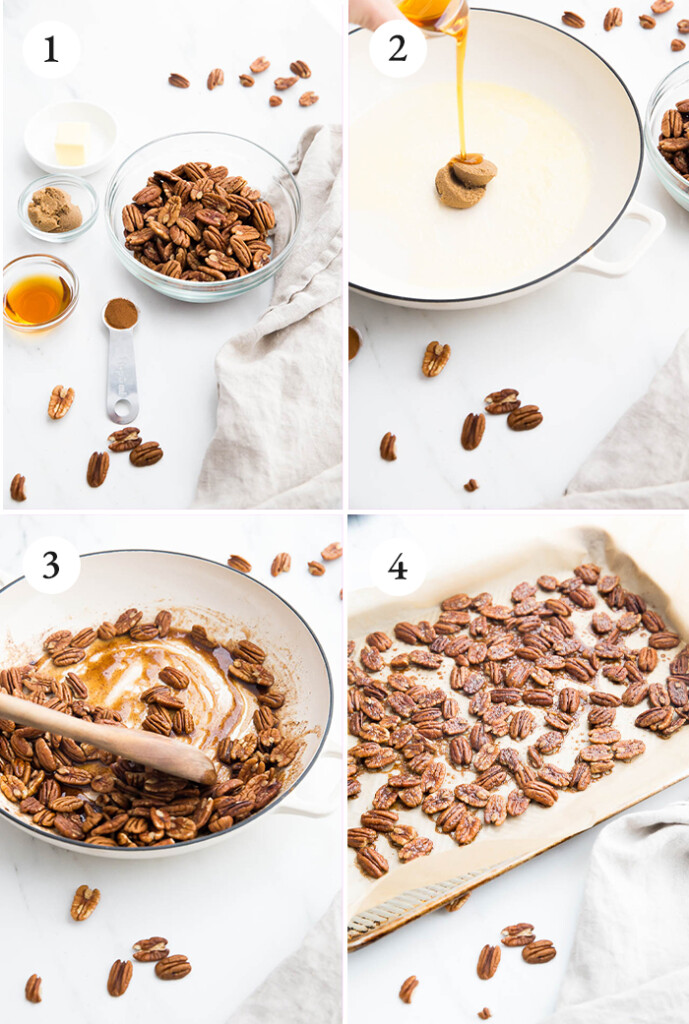 step by step photos of cooking process for glazed pecans.
