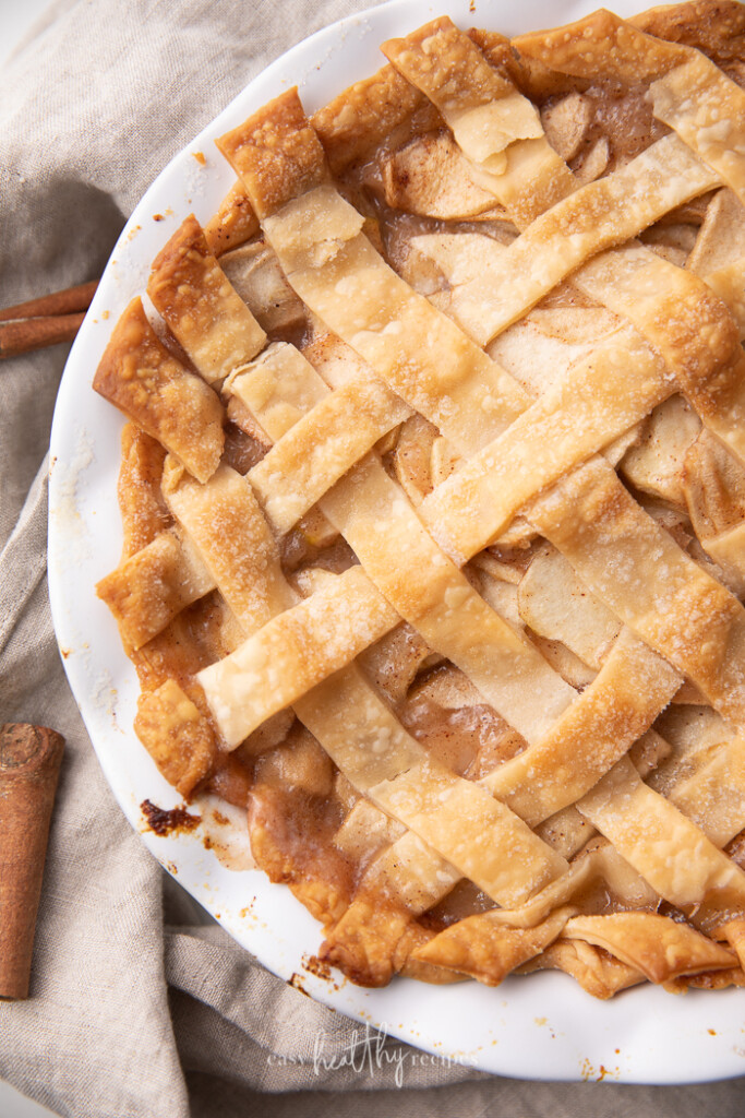 overhead shot of vegan apple pie with a lattice crust.