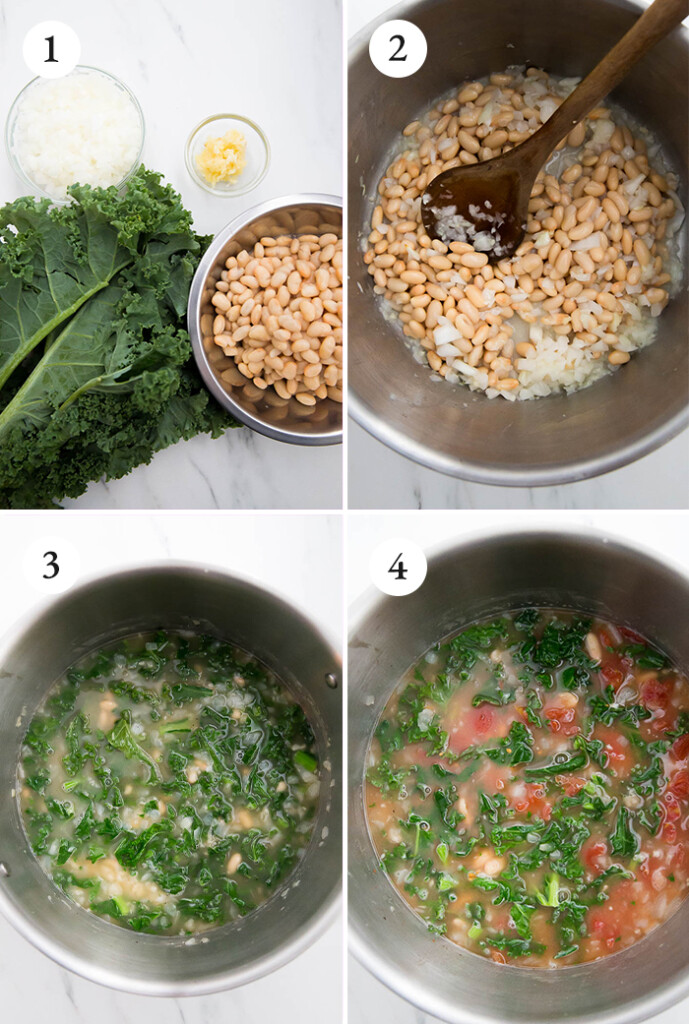 step by step tutorial for kale and white bean soup