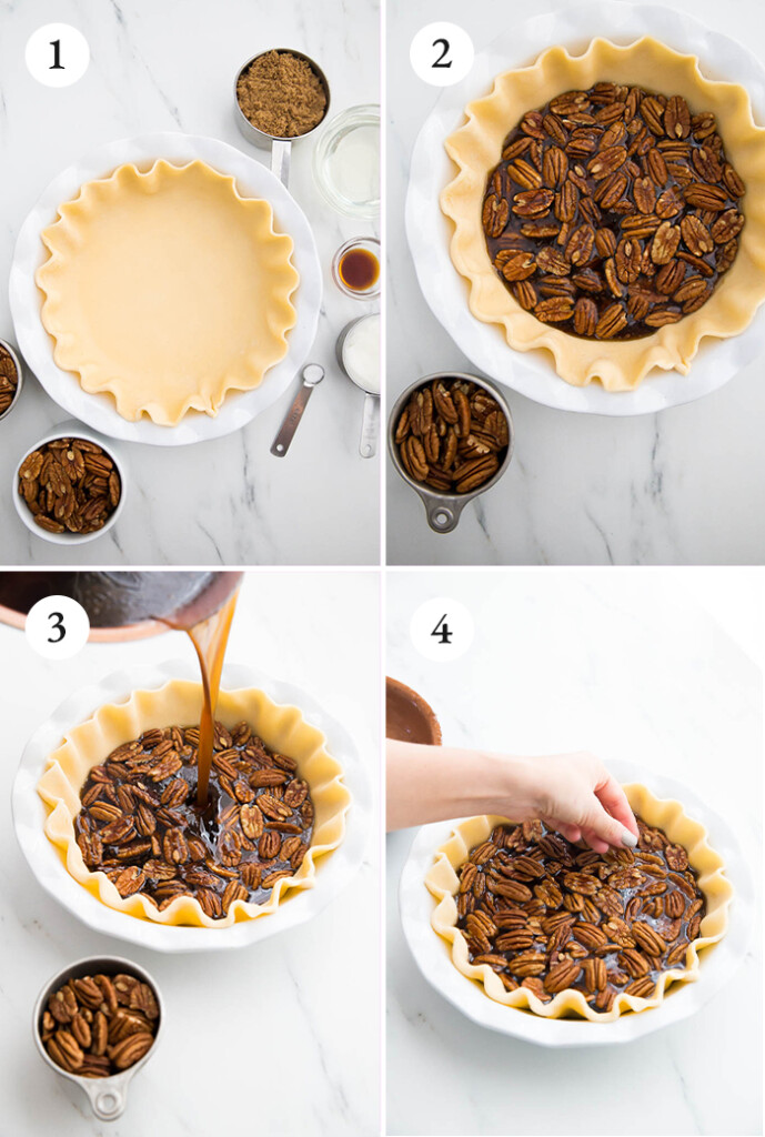 step by step instructions for vegan pecan pie.
