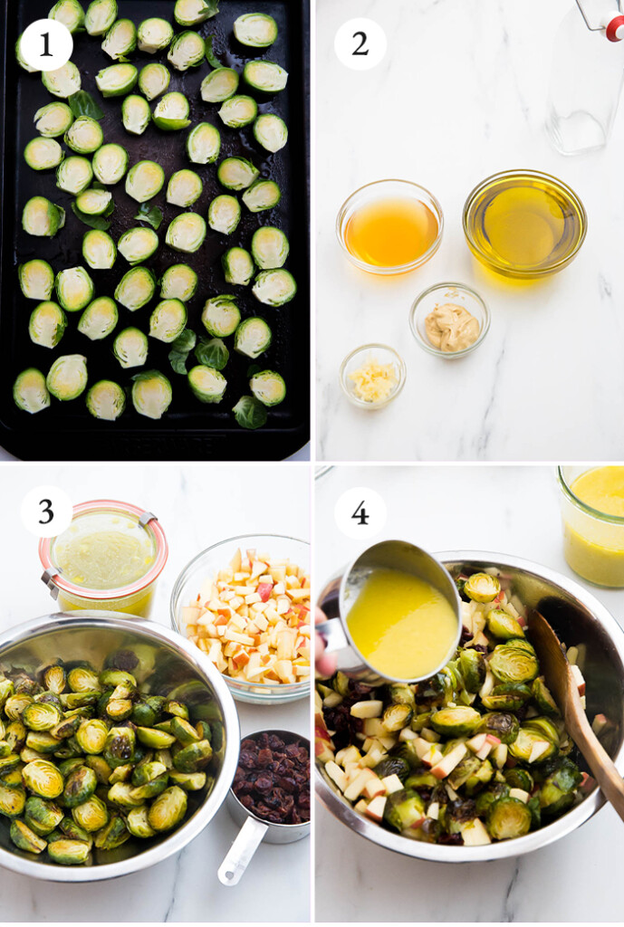 step-by-step photo of brussels sprouts salad with apple cider vinaigrette