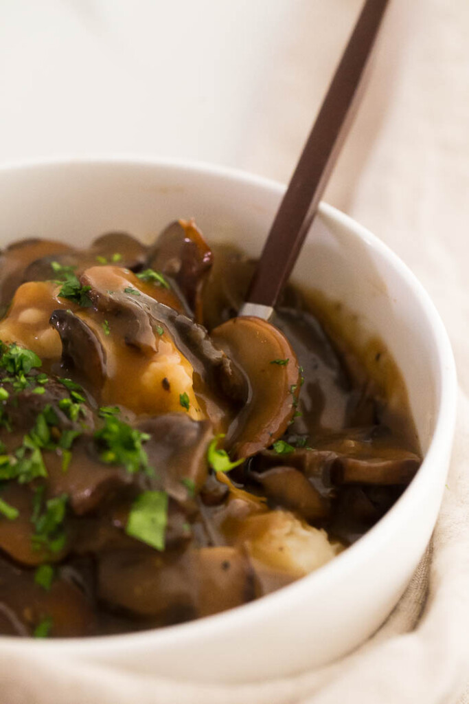 close up image of vegan mushroom gravy