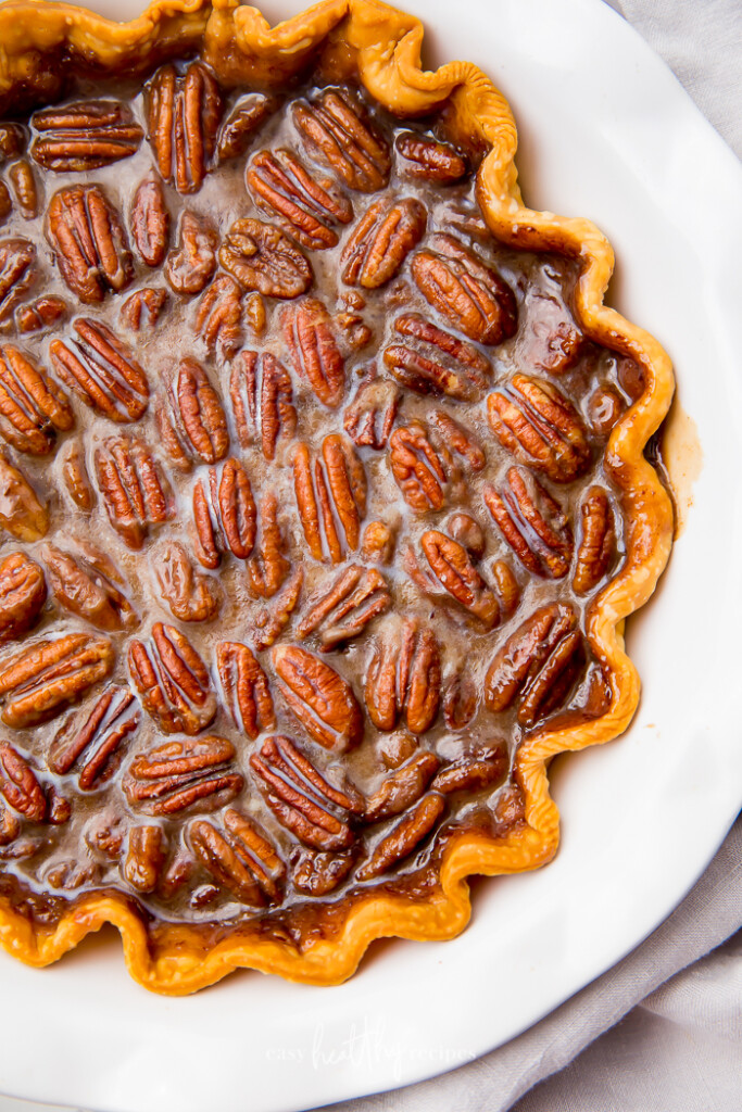 Overhead shot of vegan pecan pie.