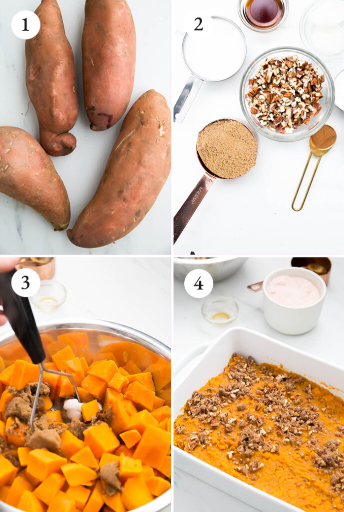 step by step instructions for sweet potato casserole