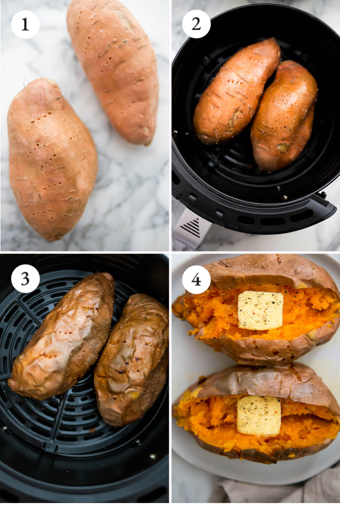 step by step instructions for sweet potates in the air fryer.