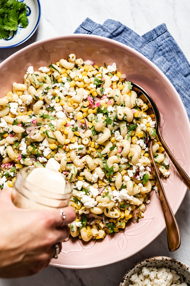 overhead shot of mexican street corn pasta salad.