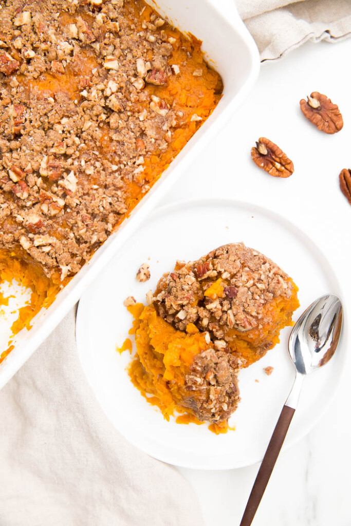 overhead photo of sweet potato casserole
