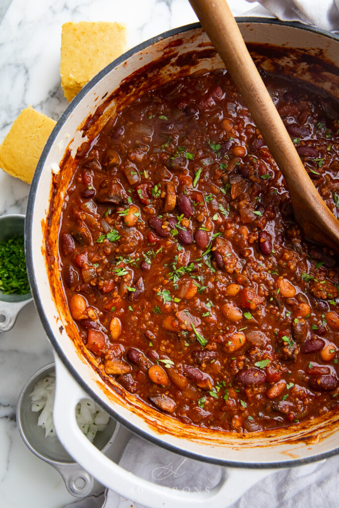 overhead shot of vegan chili