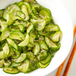 Simple Asian cucumber salad in a white bowl