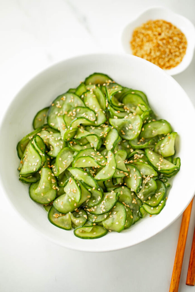 Bowl of simple Asian cucumber salad