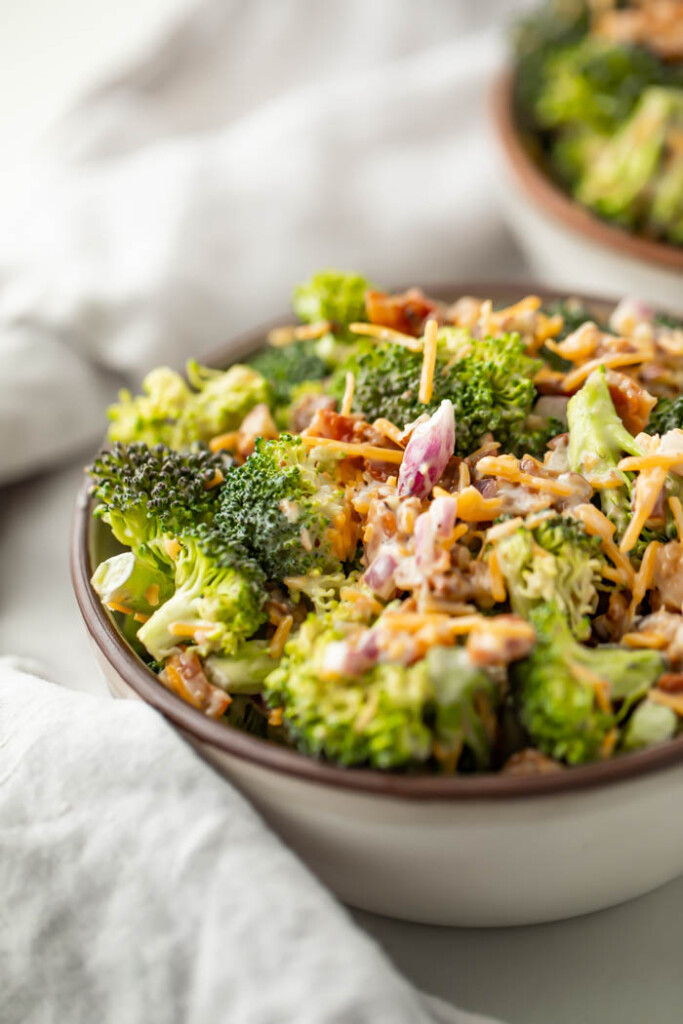 Bowl of keto broccoli salad