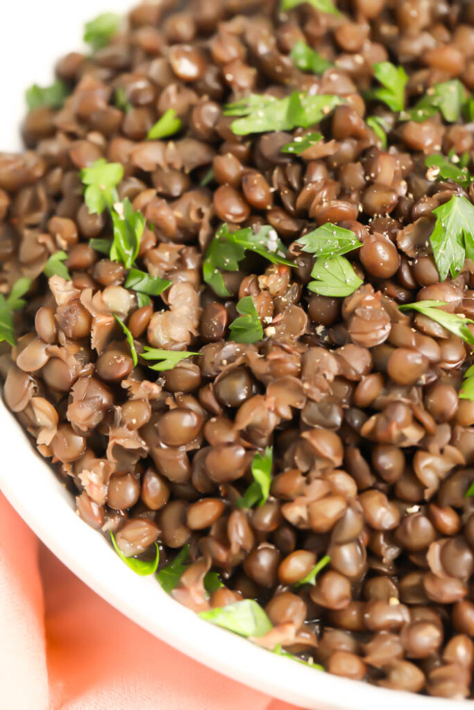 Close-up on French green lentils