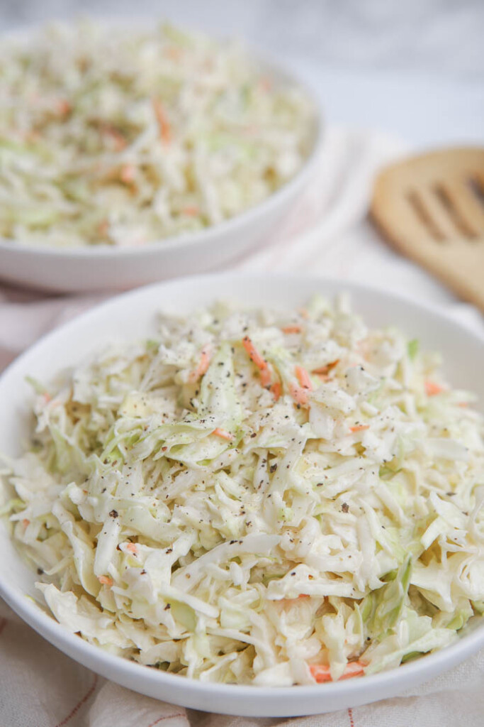 Close-up of a bowl of Chick-fil-A coleslaw