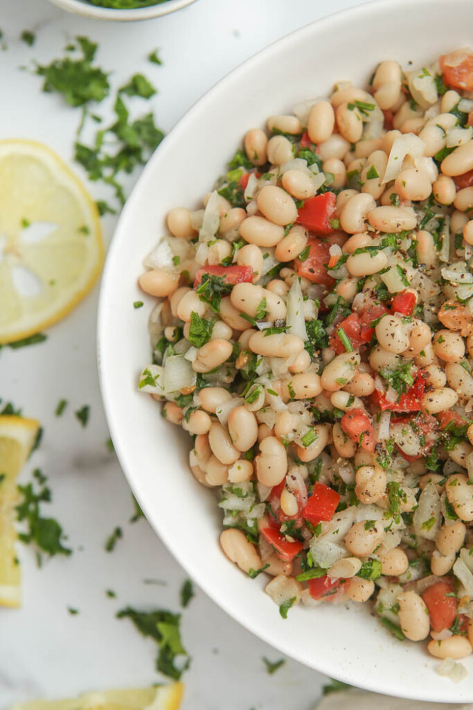Close-up of white bean salad in a bowl