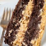 Closeup photo of keto German chocolate cake