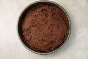 Chocolate cake in a silver round cake pan