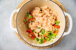 Raw chicken and veggies for gumbo