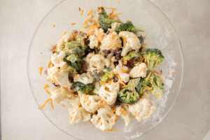Amish broccoli salad in a large glass bowl