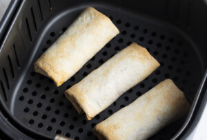 Cooked burritos in air fryer